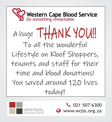 Thank you to all blood donors - lifestyle on Kloof