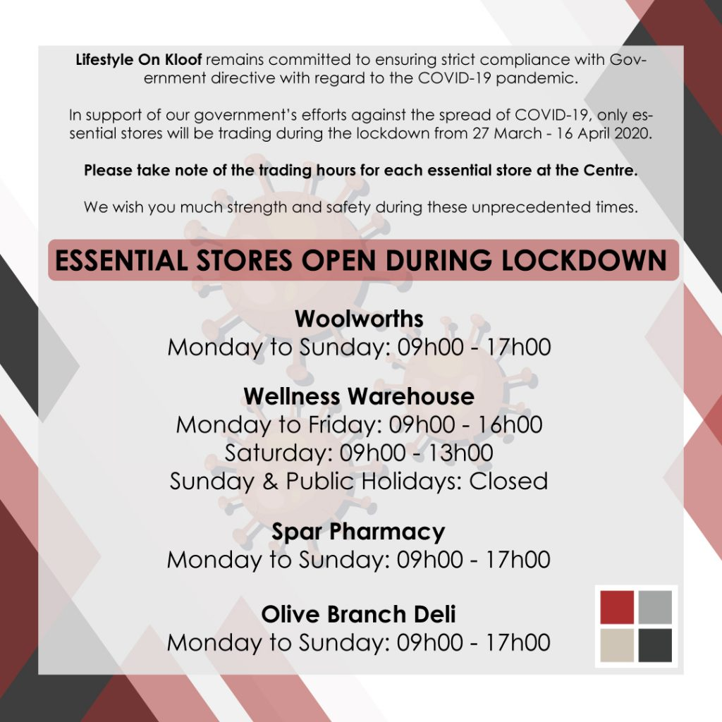 Lifestyle On Kloof Essetial Stores Trading Hours During Lockdown